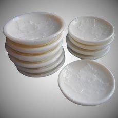 Butter Pat Pats Antique Milk Glass Rare Set 11 Grape Leaf Motif