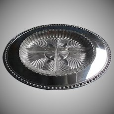 Relish Tray Silver Glass Insert Vintage Beaded Rim