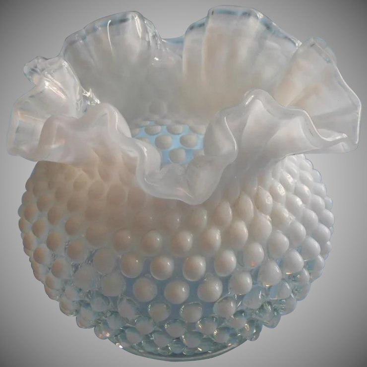 Fenton French Opalescent Hobnail Glass Vase Ruffled Crimped Rim