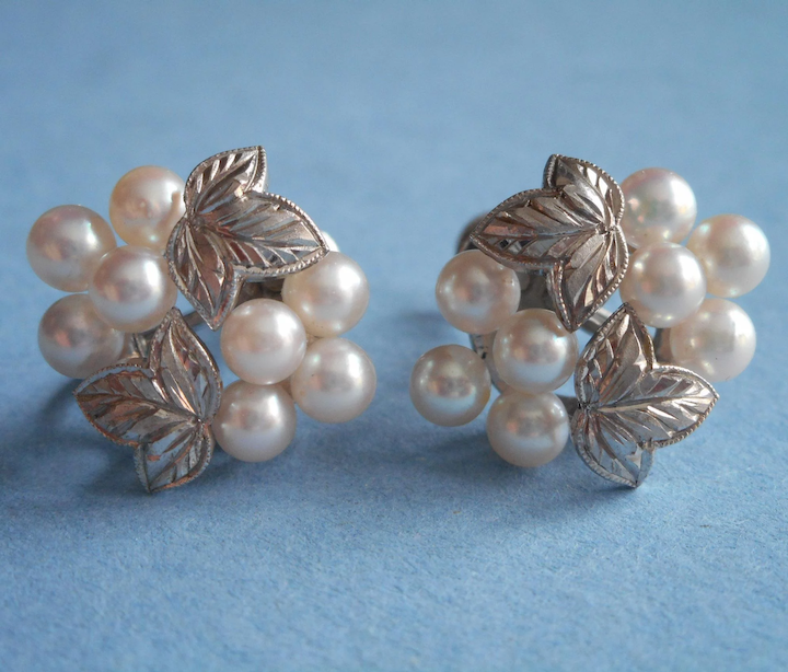 208e8d9ee Mikimoto Vintage Cultured Pearl Cluster Earrings Sterling Silver Pearls  Leaves