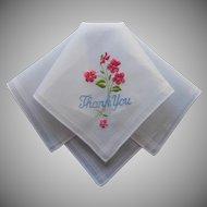 Vintage Hankie Unused Thank You Embroidery Novelty