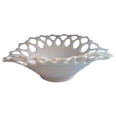 Lace Rim Milk Glass Westmoreland Vintage Large Centerpiece Bowl