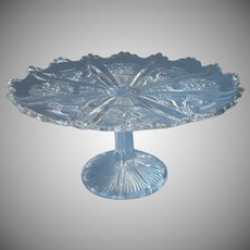 Antique Cake Pedestal Stand Paneled Thistle EAPG Pressed Glass Higbee Dominion