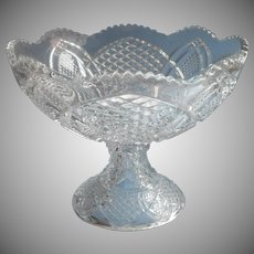 Antique Punch Bowl EAPG Pressed Glass One Piece Pedestal Style