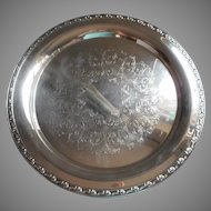 Park Lane Pattern Large Round Silver Vintage Tray Serving or Tea Set Oneida
