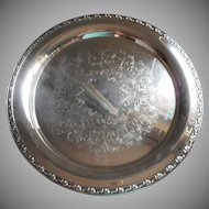 Park Lane Pattern Large Round Silver Vintage Tray Serving or Tea Set Oneida