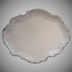 Antique Milk Glass Vanity Tray Cartouche Shape  Scrolls Molded Rim