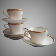 Wedding Ring Antique 3 Cups 6 Saucers Gold White China
