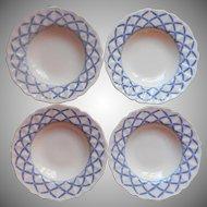 Royal Doulton Romney 4 Soup Plates Bowls Vintage Blue Cream