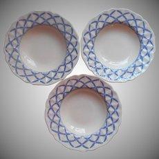 Royal Doulton Romney 3 Soup Plates Bowls Vintage Blue Cream