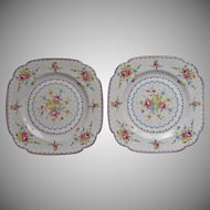 1932 Royal Albert Petit Point Square Tea Plates Vintage Bone China English