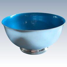 Blue Enamel Reed Barton Vintage Silver Plated Bowl 9 Inch 105