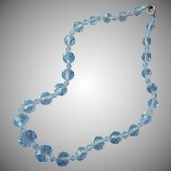 Classic Crystal Beads Necklace Vintage Faceted Graduated Choker Length