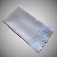 Monogram C Antique Towel Whitework Hand Embroidery Scalloped