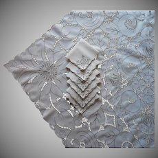 Cutwork Set Tablecloth Napkins Vintage Richelieu Type Hand Embroidery