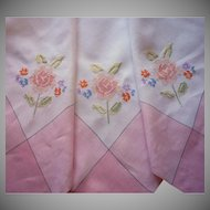 1920s Pink Tablecloth White Hand Embroidery Vintage Linen Square
