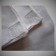 Monogram R Antique Napkins Damask Filet Crocheted Lace Corners