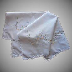 Tea Tablecloth ca 1920 Hand Embroidered Cotton Lace Flower Baskets
