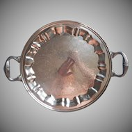 Vintage Tray Silver On Copper Round Handles Tea Set or Serving