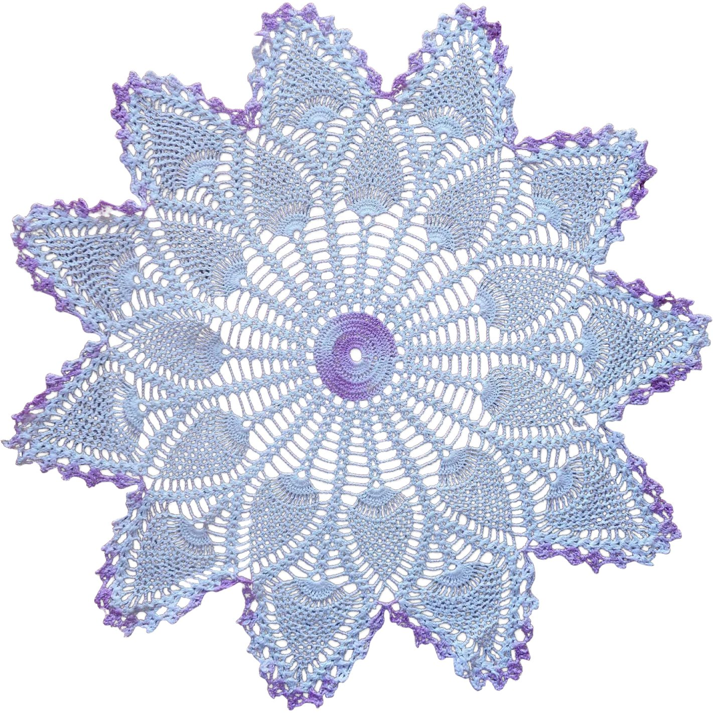 Vintage Purple White Pineapple Crocheted Lace Centerpiece Doily ...