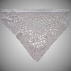Antique Tablecloth Filet Crocheted Lace Corners Linen Square ca 1915