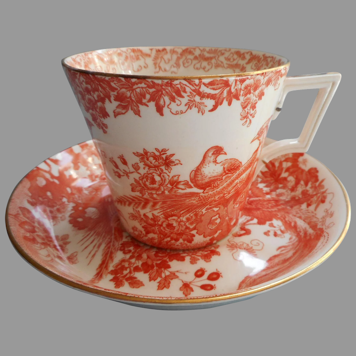 Royal Crown Derby Red Aves Cup and Saucer