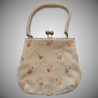 Vintage Purse White Plastic Bead Pink Roses Embroidery Summer