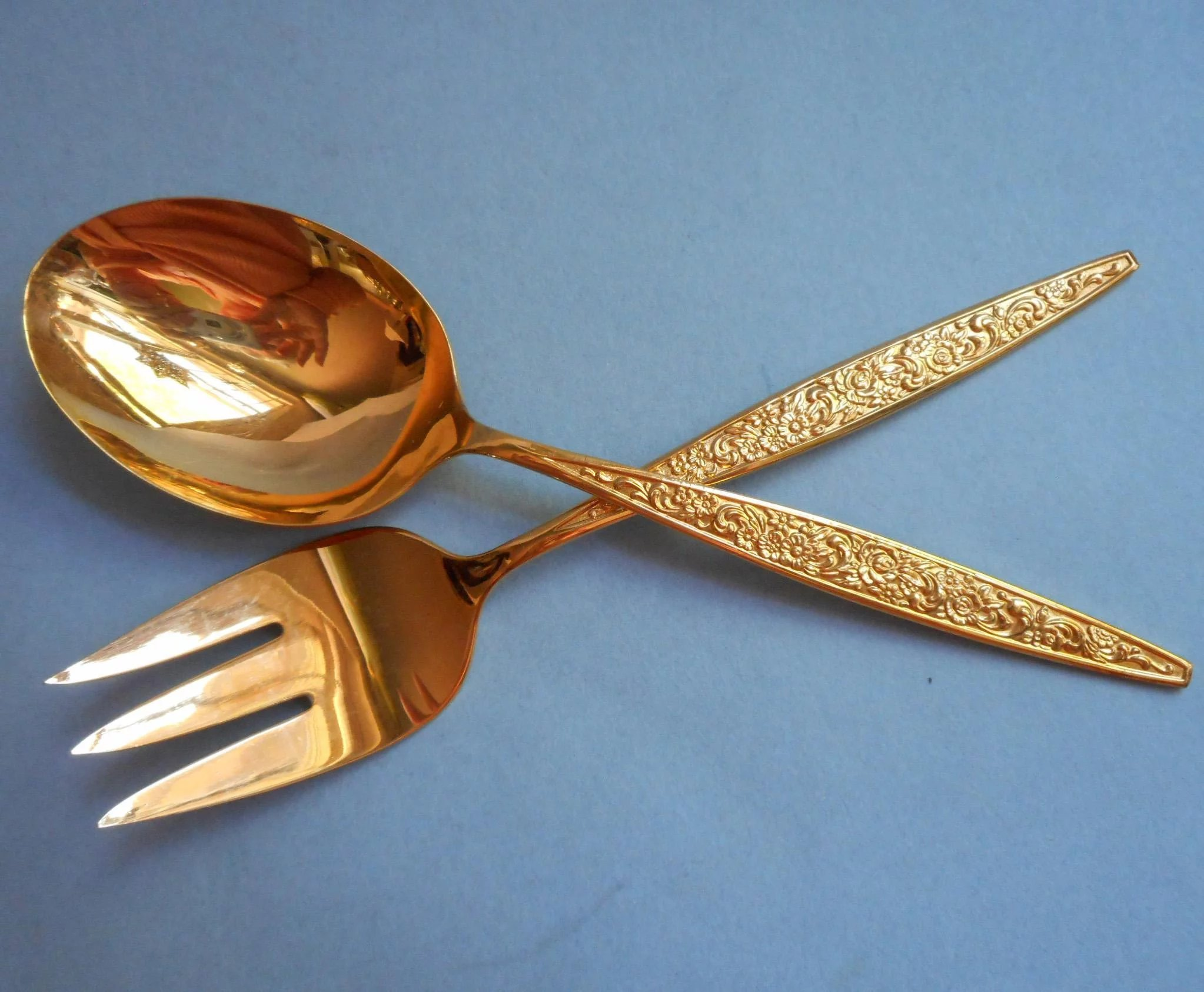 Golden Tangier Vintage Gold Stainless Community Oneida Serving Spoon ...