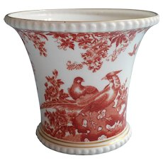 Red Aves Cachepot Royal Crown Derby Vintage Bone China
