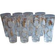 Set 8 Vintage Tall Barware Glasses Tumblers Gold White Leaves Tom Collins