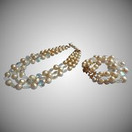 Vintage 1950s to 60s Marvella Necklace Bracelet Faux Pearl Crackle AB Glass TLC