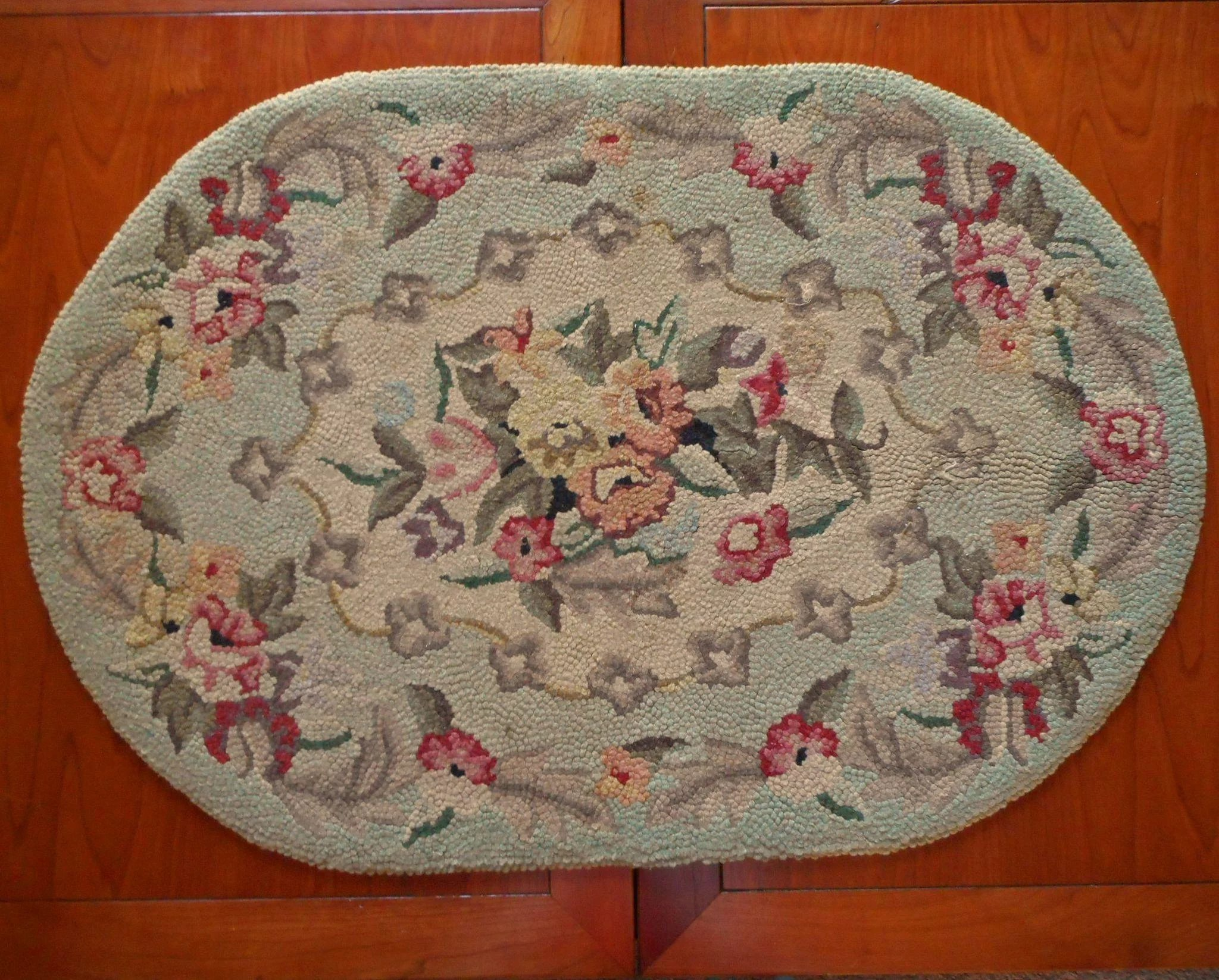 Vintage Rug Hooked Small Oval Soft Green Wool Floral