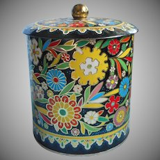 Vintage 1950s Tin Canister Daher Ware Flowers On Black