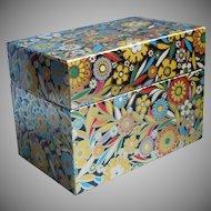 Vintage 1950s Recipe Box Tin J. Chein Flowers Black Original Sealed Cards Etc