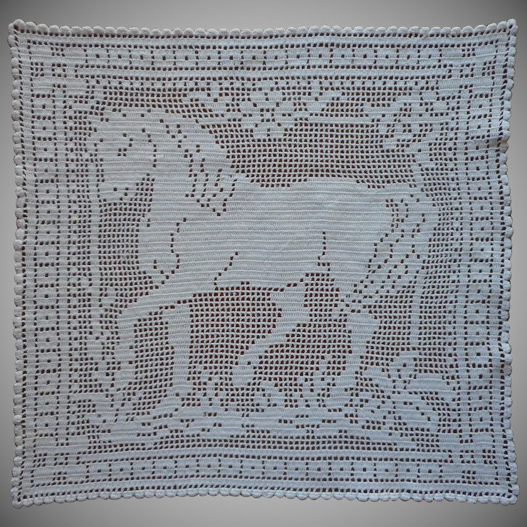 Antique Horse Lace Filet Crocheted Tray Doily Lamp Mat Mercy