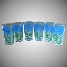 Set 6 Vintage Swanky Swig Tumblers Glasses Blue Peanut Butter Flowers Green