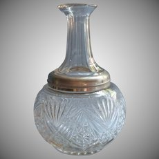 Antique Pressed Glass Water Carafe Nickel Silver Collar EAPG