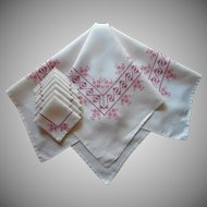 Tea Tablecloth 8 Napkins Set Pink Mauve Hand Embroidery Vintage Linen