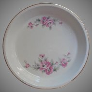 Vintage Pie Plate Knowles Utility Ware Pink Flowers