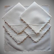 Tea Napkins Antique 1910s Roses Filet Crocheted Lace Corners Linen