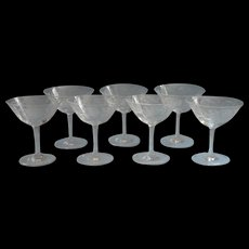 Thistle Etched Glass Champagne Cocktail Glasses Very Vintage Set 7 - Red Tag Sale Item