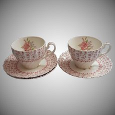 Rose Bouquet Johnson Brothers Vintage 2 Cups Saucers England China