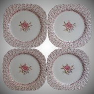 Rose Bouquet Johnson Brothers Vintage 4 Square Salad Plates Dessert  England China