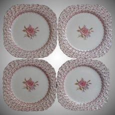 Rose Bouquet Johnson Brothers Vintage 4 Square Salad Plates Dessert  England China