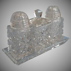 Cut Glass Shakers Mustard Pot On Tray Set Vintage Tete A Tete For Two