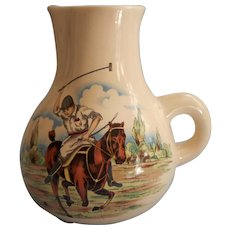 Vintage Polo Scene Pottery Whiskey Water Pitcher Midcentury Lord and Taylor Barware - Red Tag Sale Item