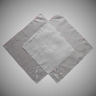 2 Madeira Hankies Vintage White On White Hand Embroidery
