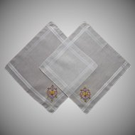 2 Vintage Hankies Unused Purple Yellow Embroidery