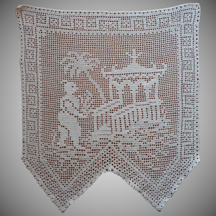 Antimacassar Antique Filet Crocheted Lace Asian Scene Chair Doily