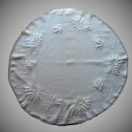 Antique Poinsettias Hand Embroidery Round Linen Topper Centerpiece Tablecloth